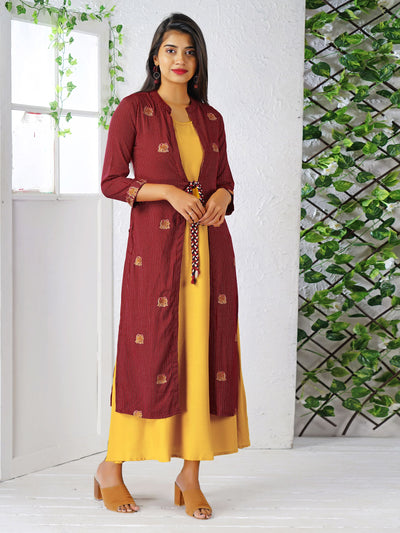 Elephant Embroidered Jacket With Solid Colored Cotton Kurti - Maroon and Yellow