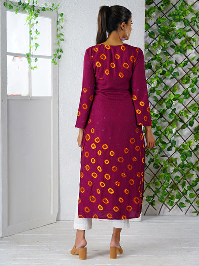 Floral Print Flare Sleeved Cotton Kurti – Purple