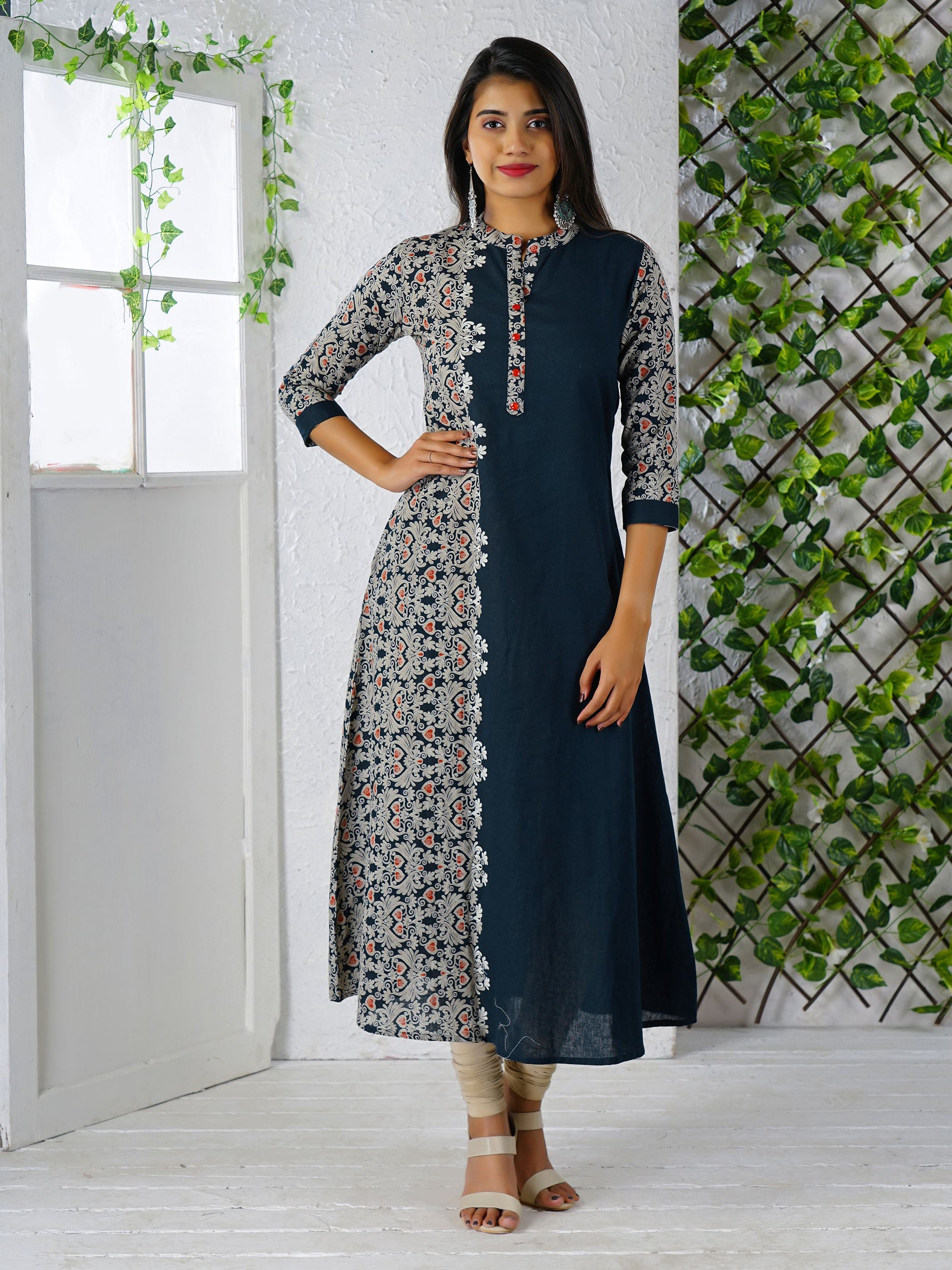 Abstract Floral Placement Printed Cotton Kurti - Blue