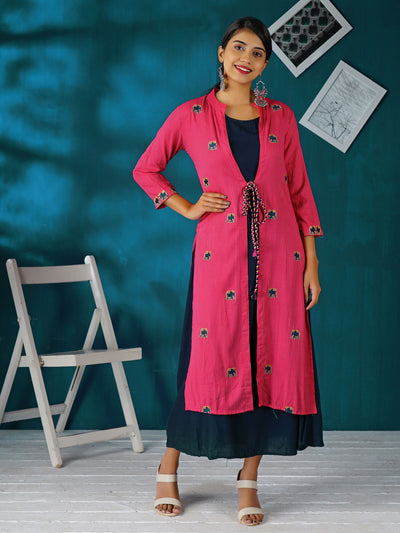 Elephant Embroidered Jacket With Solid Colored Cotton Kurti - Pink
