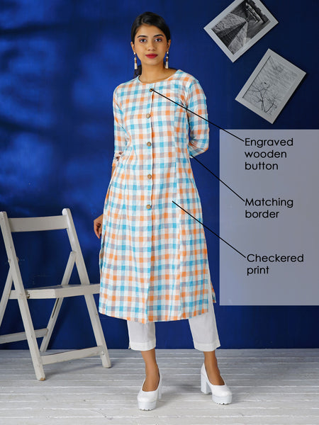Engraved Wooden Buttoned Checkered Cotton Kurti - Blue