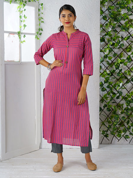 Wooden Buttoned Striped Cotton Kurti