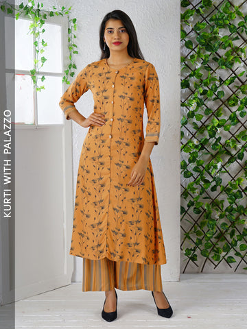 Digital Floral Printed Kurta with Striped Palazzo