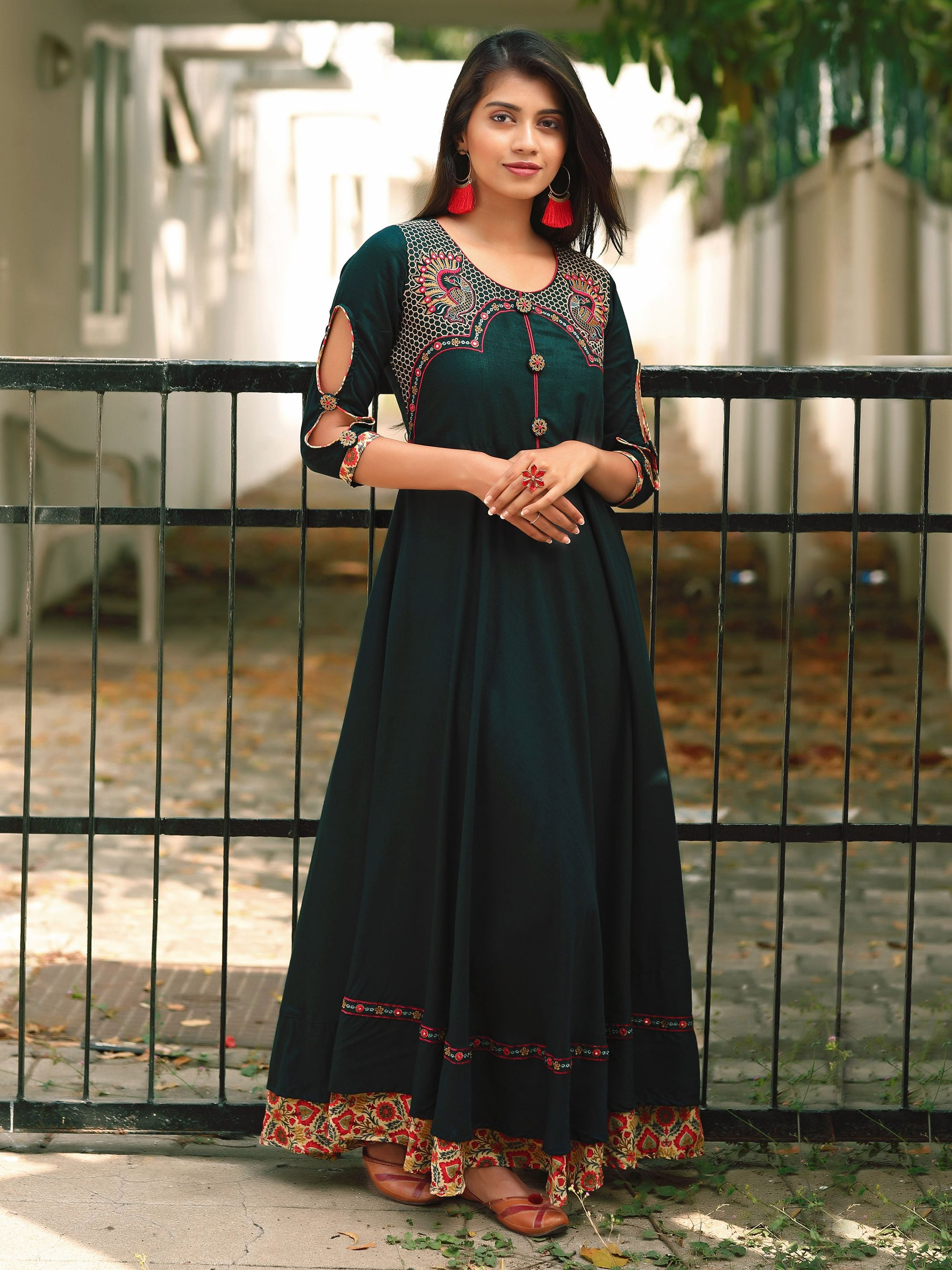 Flared Kurta with Resham Bird Mirror Work - Dark Forest Green