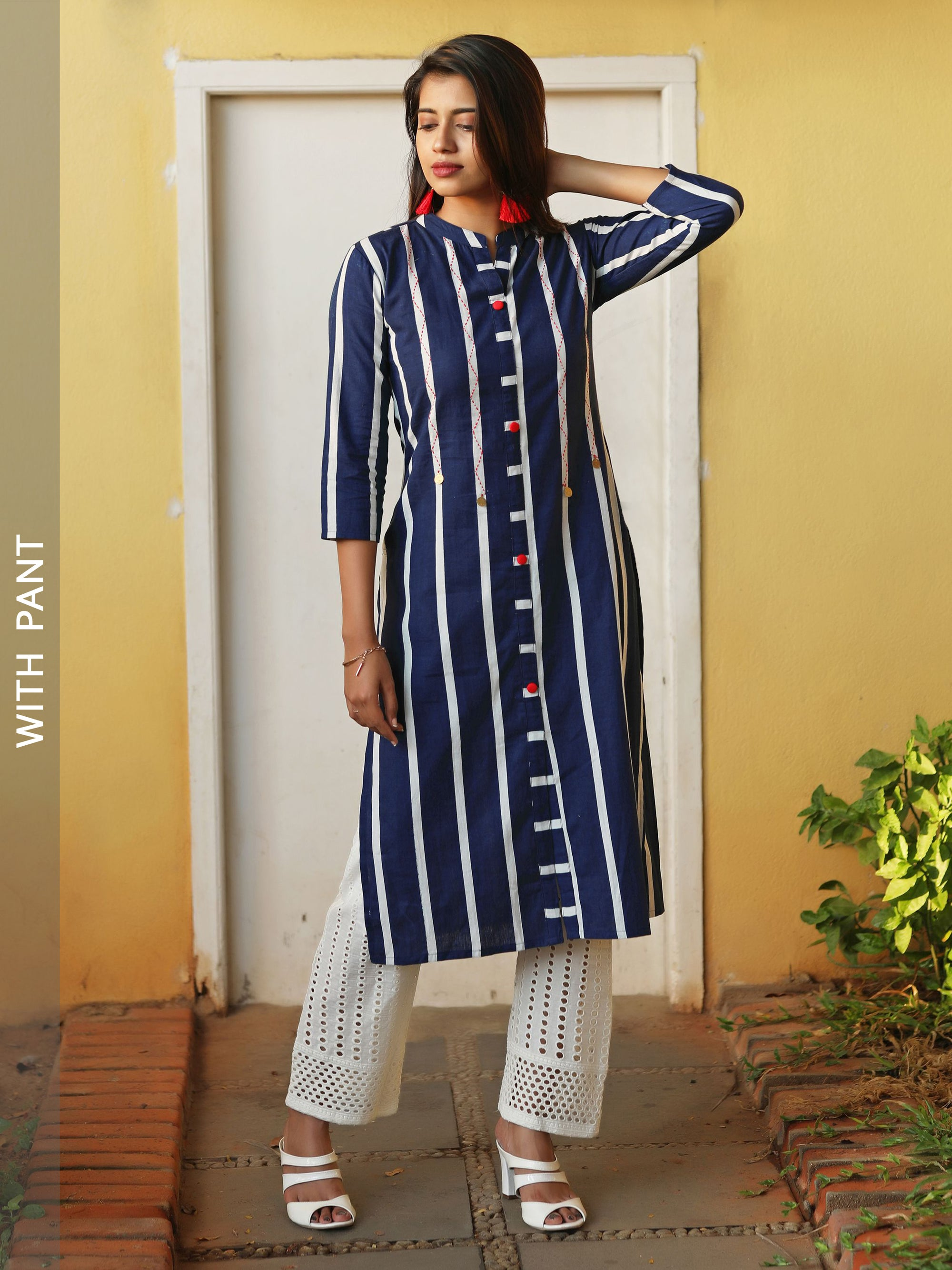 Bold Striped Embroidered Kurta with Hakoba Pant Set