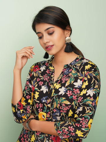 Asymmetrical Floral Printed Kurta with Metal Buttons
