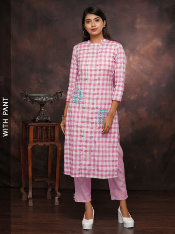 Gingham Chequered Embroidered Kurta with Embroidered Pant Set - Pink