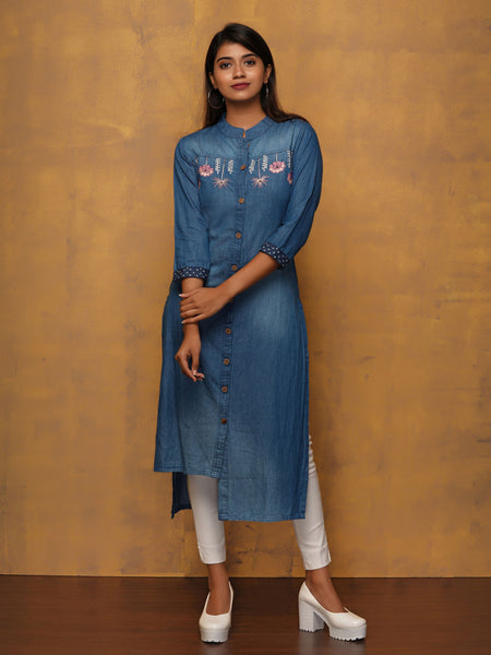 Upside-Down Embroidered Floral Denim Kurta
