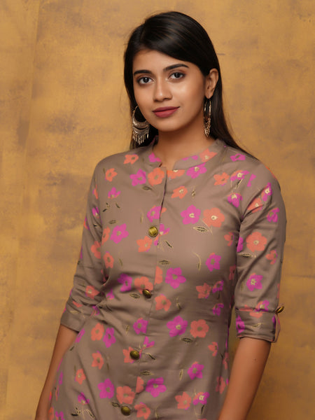 Floral Printed Kurta with Semi-Dome Metal Buttons - Pale Mauve