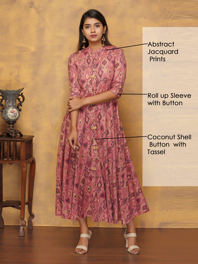 Abstract Jacquard Pattern All Over Printed Kurti - Powder Pink