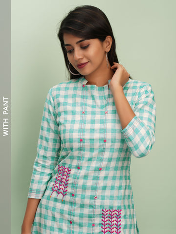 Gingham Chequered Embroidered Kurta with Embroidered Pant Set - Blue