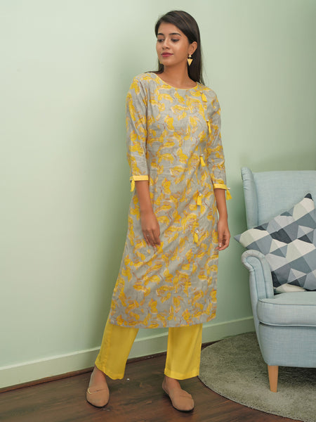 Watercolor Branched Leaves Printed Kurta with Pants Set