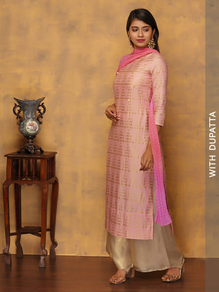 Golden Triangles Printed Kurta with Dual-Color Dupatta