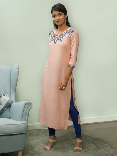 Peach Yarn Dyed Embroidered Kurti