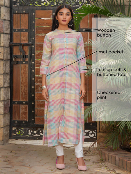 Checkered Printed Cotton Handloom Kurti