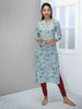 Leaf Printed Kurta with Running Stitchwork - Pale Powder Blue