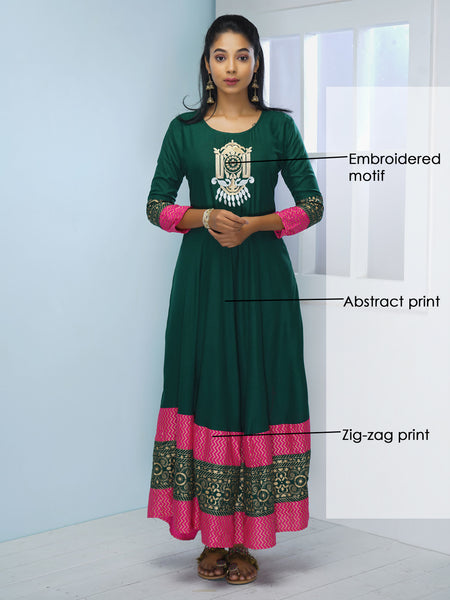 Abstract Embroidered & Printed Bordered Kurta