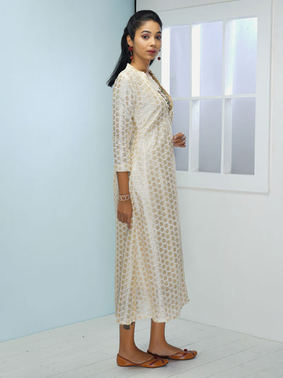Embroidered Kurta layered with Floral Embroidered Angrakha