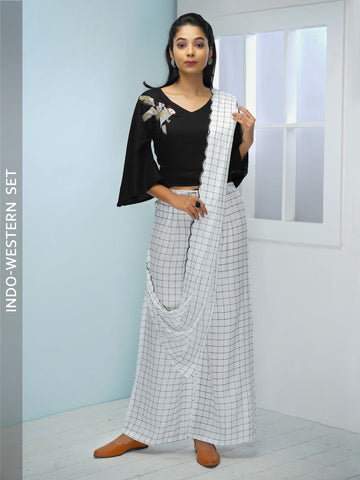 Resham Bird Crop Top with Chequered Printed Dupatta & Palazzo Set