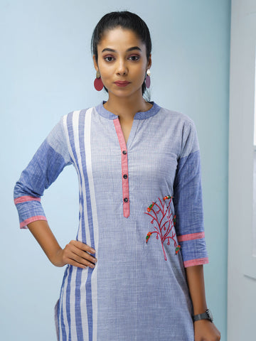 Printed Striped & Embroidered Kurta with Wooden Birds - Blue & White