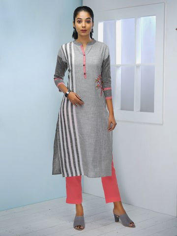 Printed Striped & Embroidered Kurta with Wooden Birds - Grey & Off-White