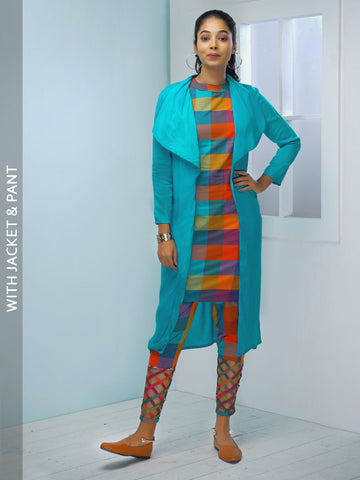 Multi-Chequered Kurta with Pant & Jacket