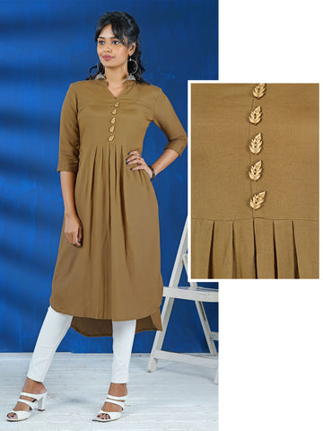 Wooden Cutwork Leaf Brooches Studded Pleated Cotton Kurti - Beige Brown