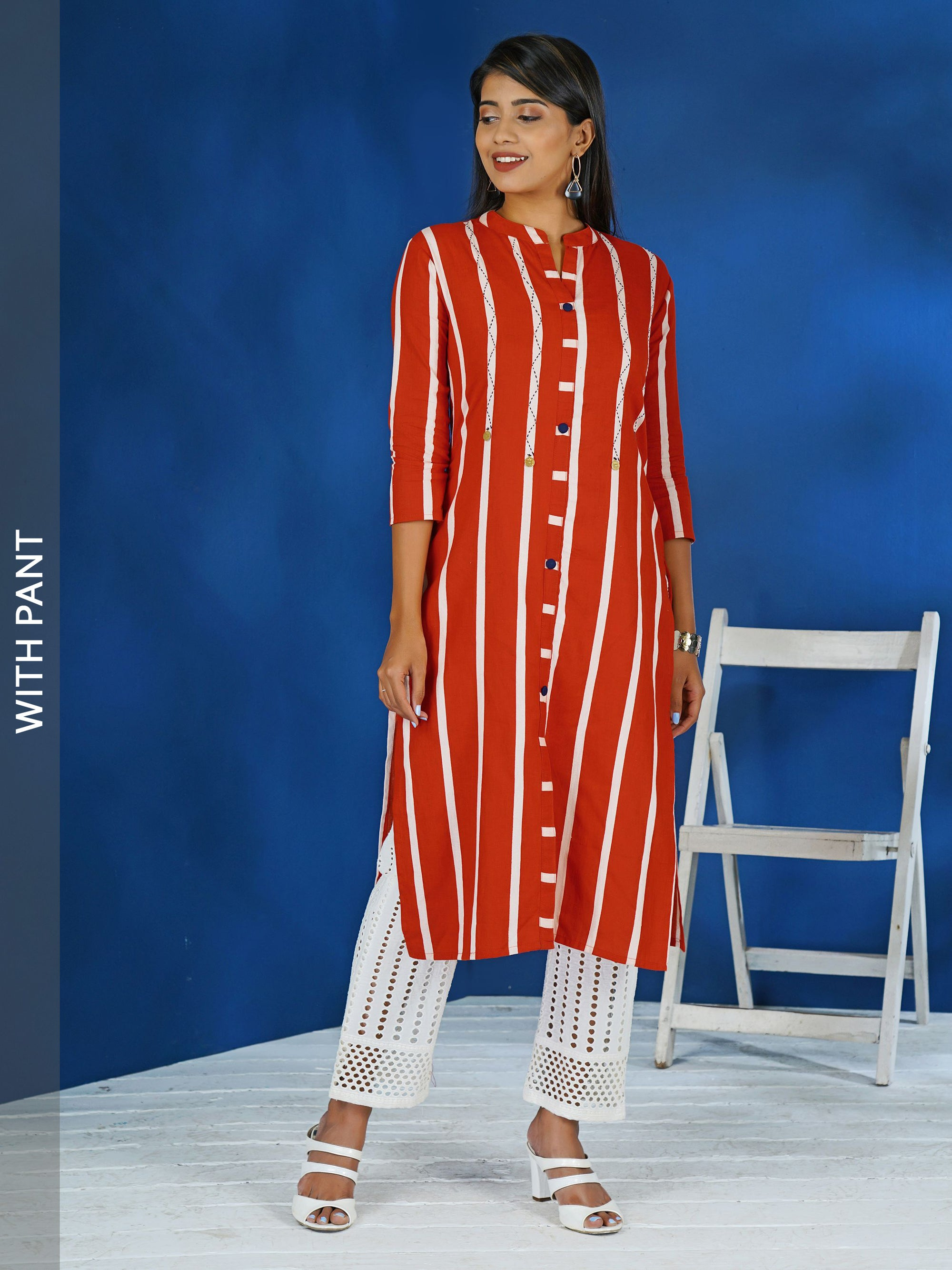 Bold Striped Embroidered Kurta with Hakoba Pant Set - Vermilion Red