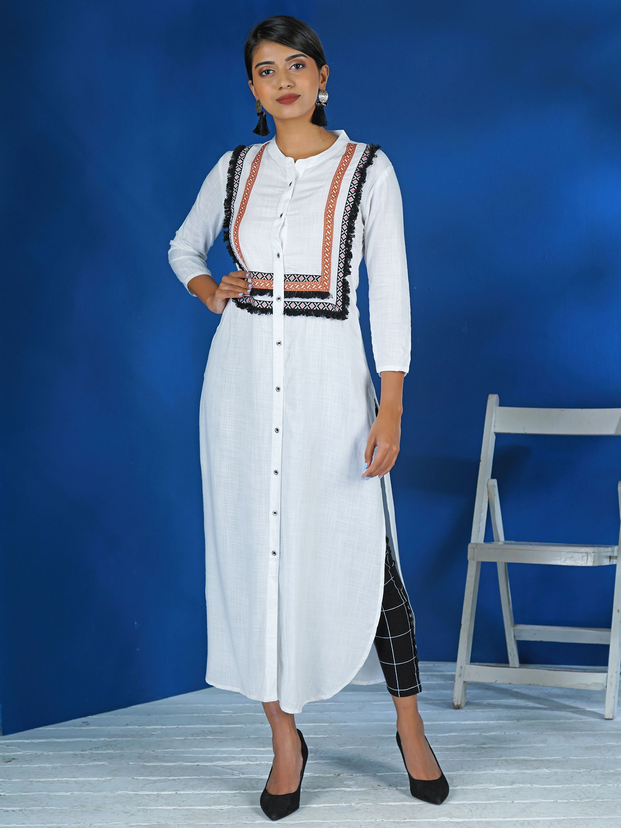 Woven Resham Fringed Border Embellished Kurti