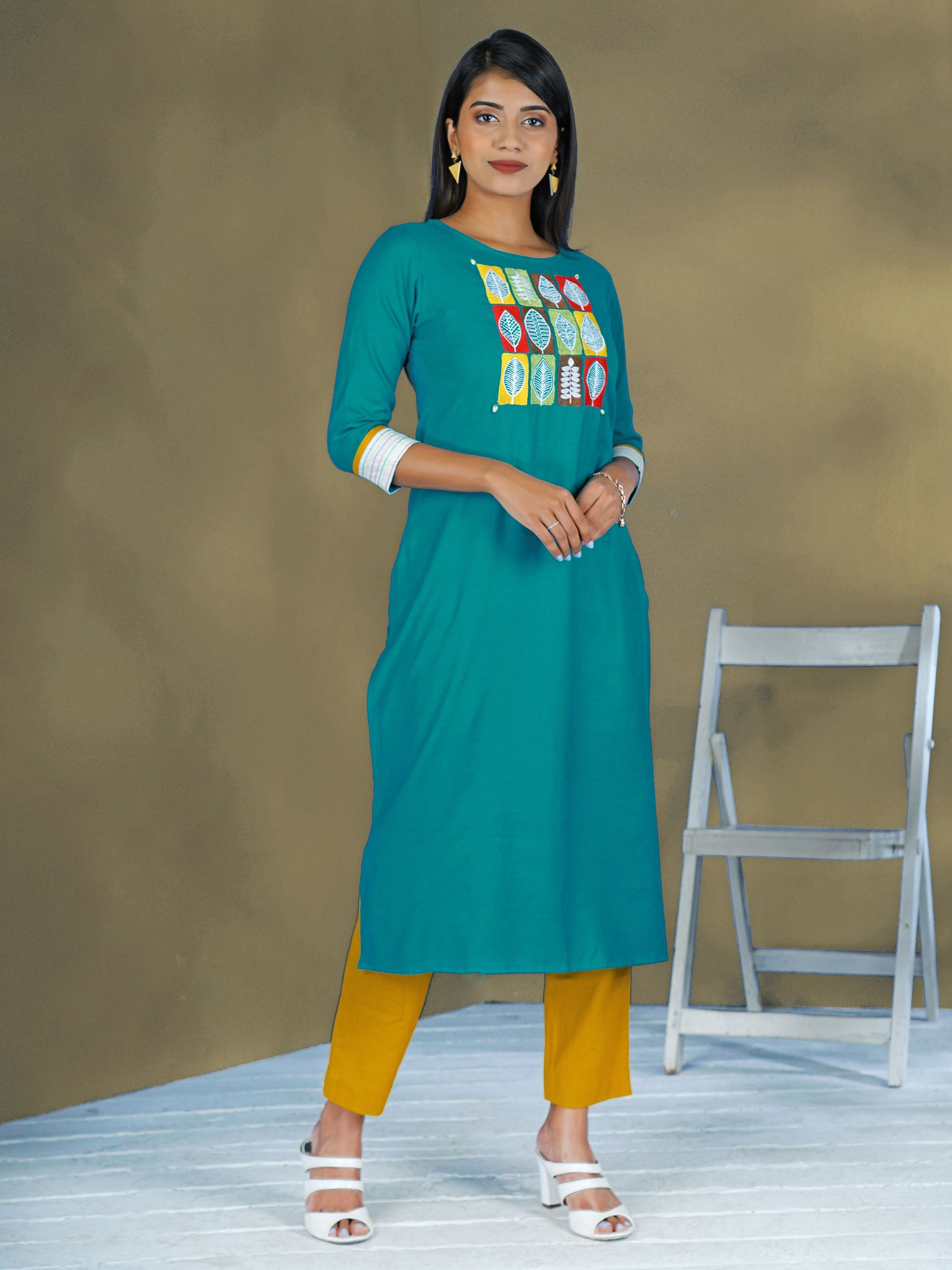 Resham Leaf Buta Work Cotton-Piquet Kurti - Light Blue