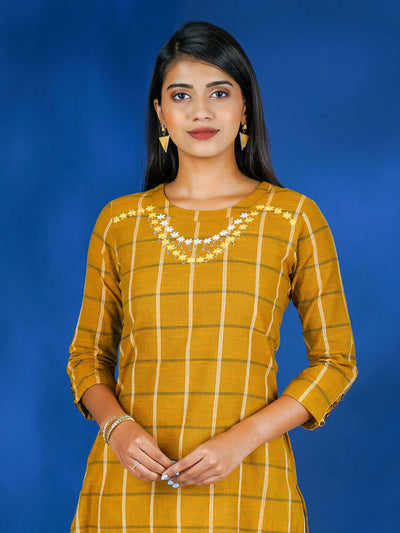 Necklace Style Floral & Beads Embroidered Chequered Kurta