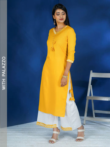 Leaf Vines Embroidered Tasseled Kurta with Embroidered Palazzo
