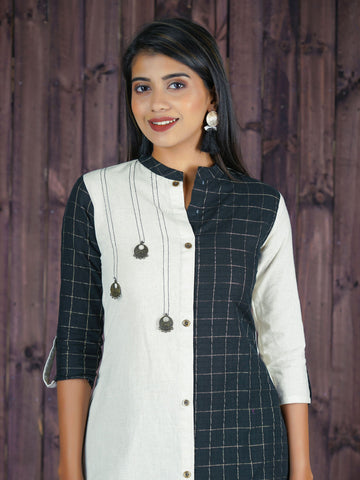 Oxidised Chaand Brooch Studded Shimmer Checkered Panelled Cotton Kurti