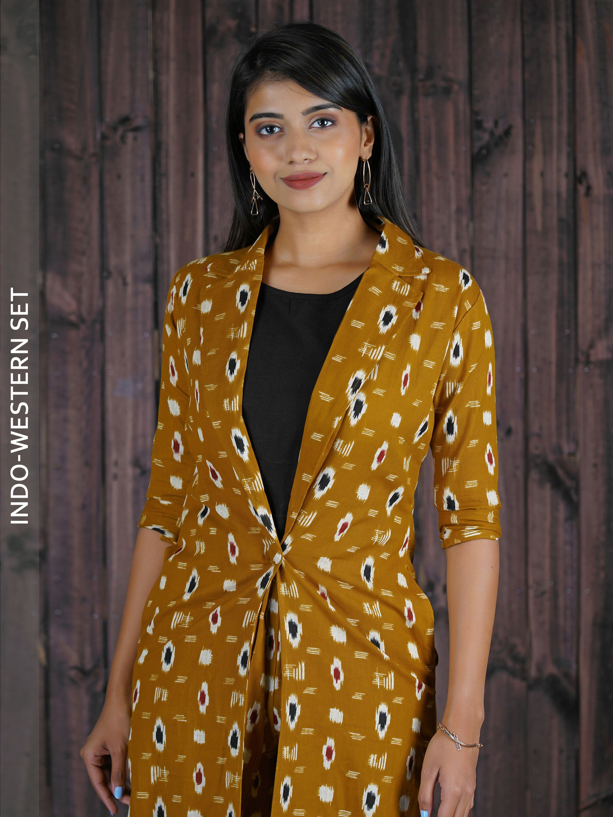 Ikkat Printed Jacket & Palazzo with Crop Top - Mustard
