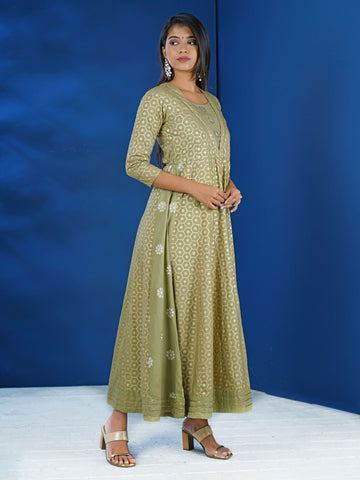Chaand-Brooch Studded Khadi Printed Honeycomb Jaal Cotton Kurti