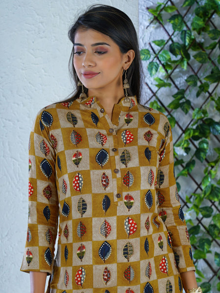 Coconut Shell Buttoned Checkered & Leaf Buti Printed Kurti – Ochre