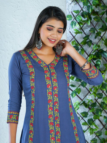 Resham & Foil Mirror Work Floral Baile Border Embellished Cotton Kurti