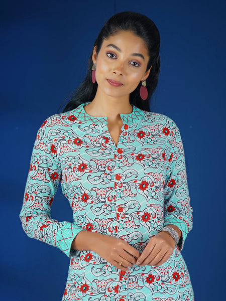 Abstract & Floral Print Tie-up Belt & Matching Cotton Kurti