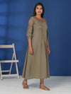 Resham Knot Work Knife Pleated Bishop Sleeves Kurti