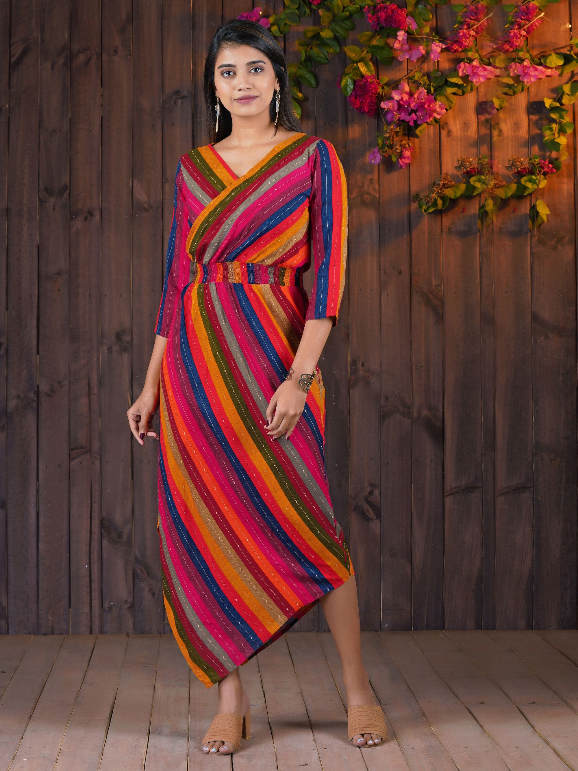 Smocking Detailed Overlapping Asymmetric Hem Striped Kurti