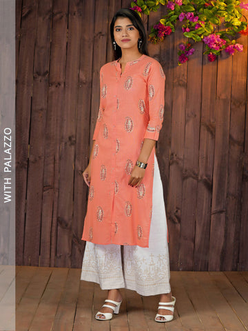 Sequined Paisley Printed Kurta with Golden Geometric Printed Palazzo