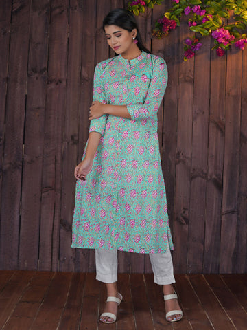 Abstract Fruit Plant Printed Kurta