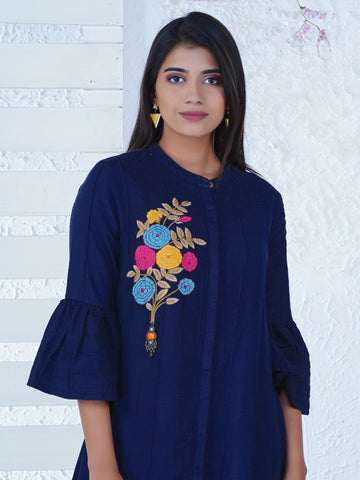 Floral Embroidered Tiered Kurta
