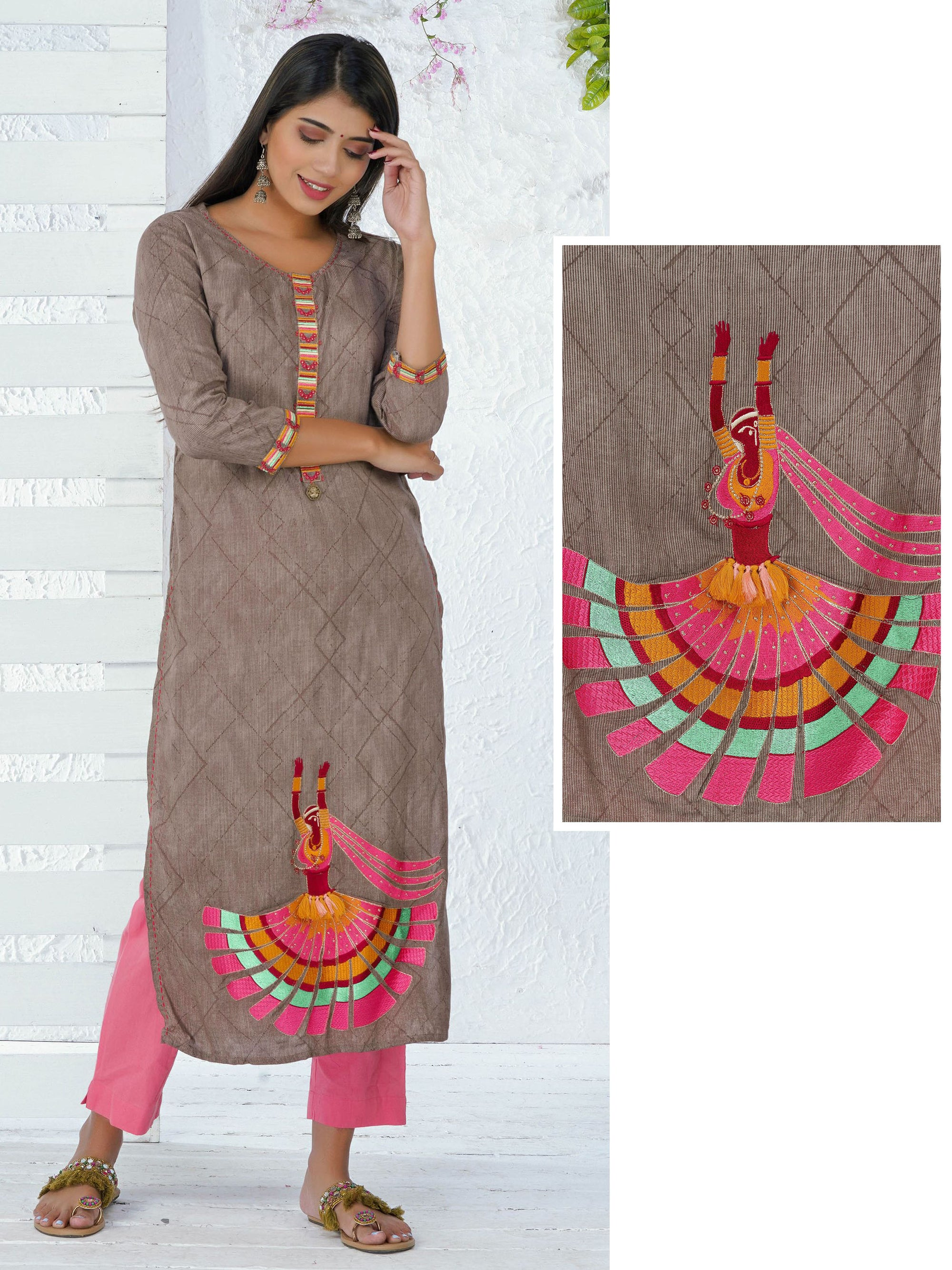Abstract Printed & Embroidered Dancing Girl Kurta - Light Cocoa Brown