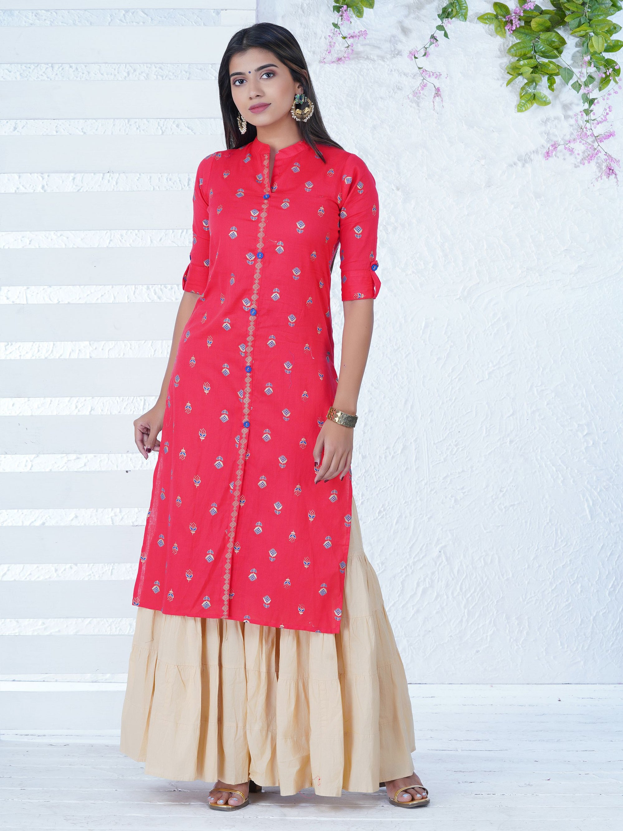f319fa2dd29197 Golden Abstract Floral Motifs Printed Kurta - Raspberry Red - Fashor