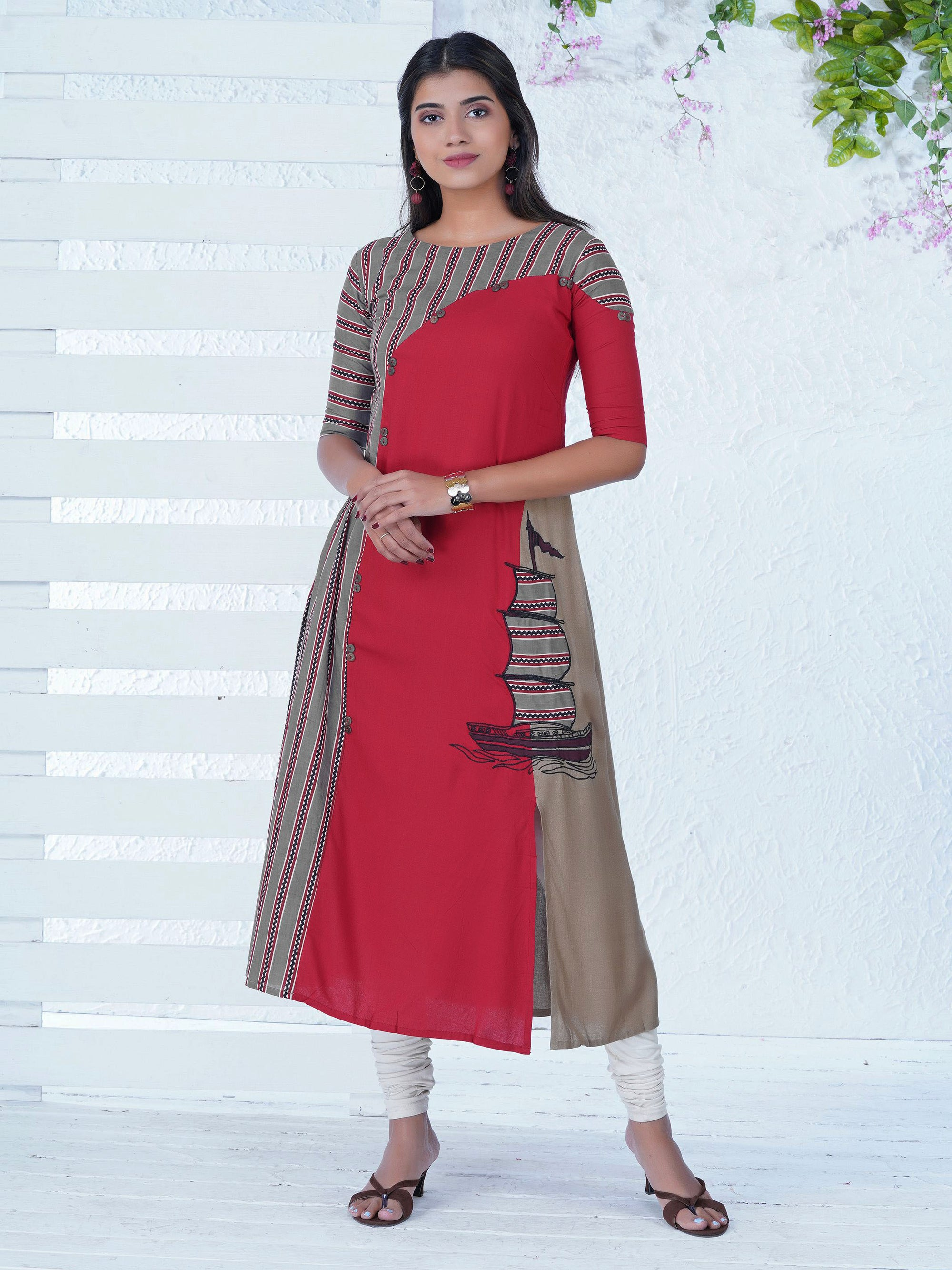 Sail Boat Embroidered & Asymmetrically Panelled Printed Kurta