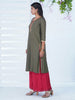 Zari Work Border & Contrast Piping Detailed Kurti -  Mustard Grey