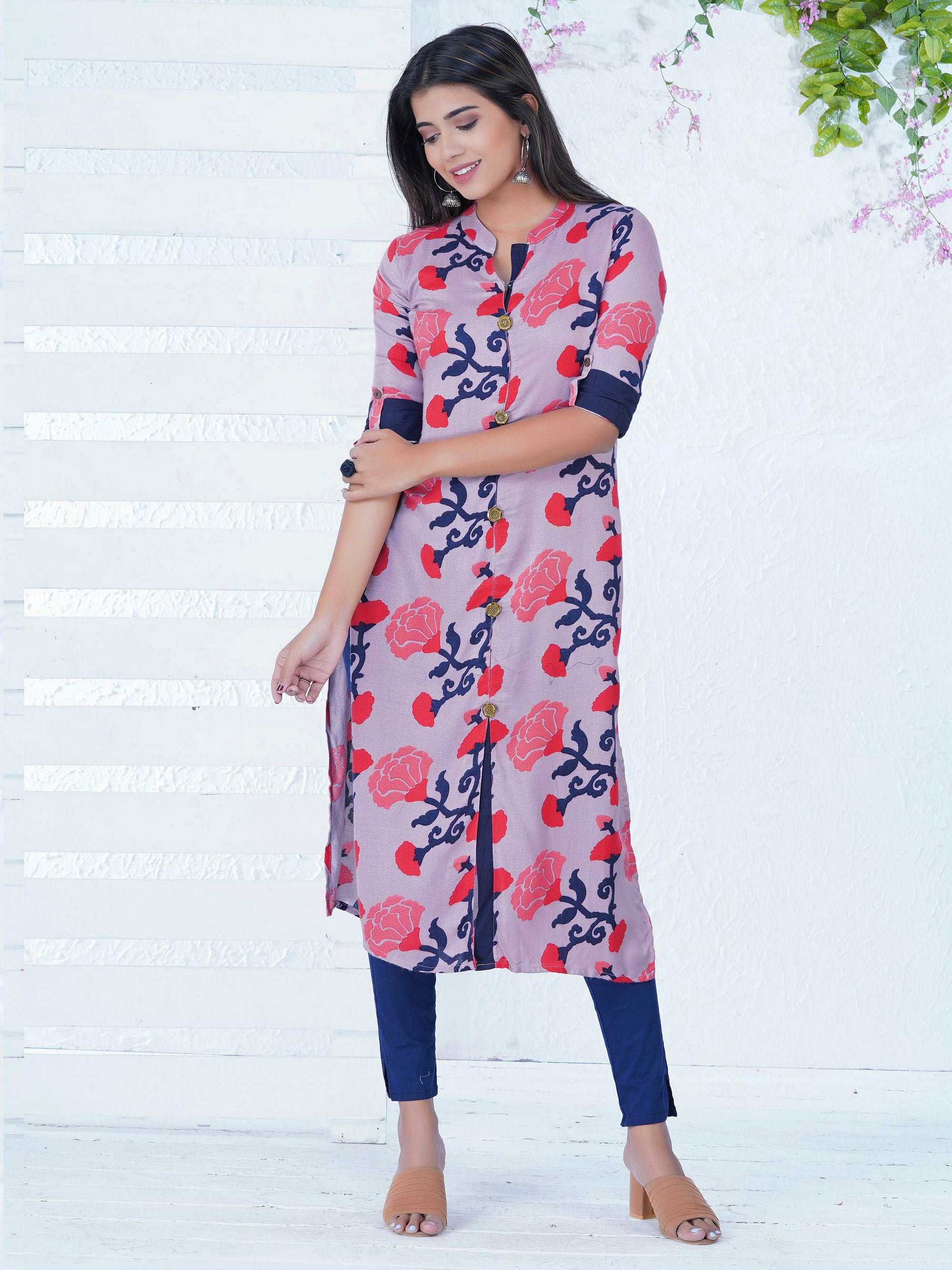 Abstract Marigold Floral Printed Kurta – Mauve