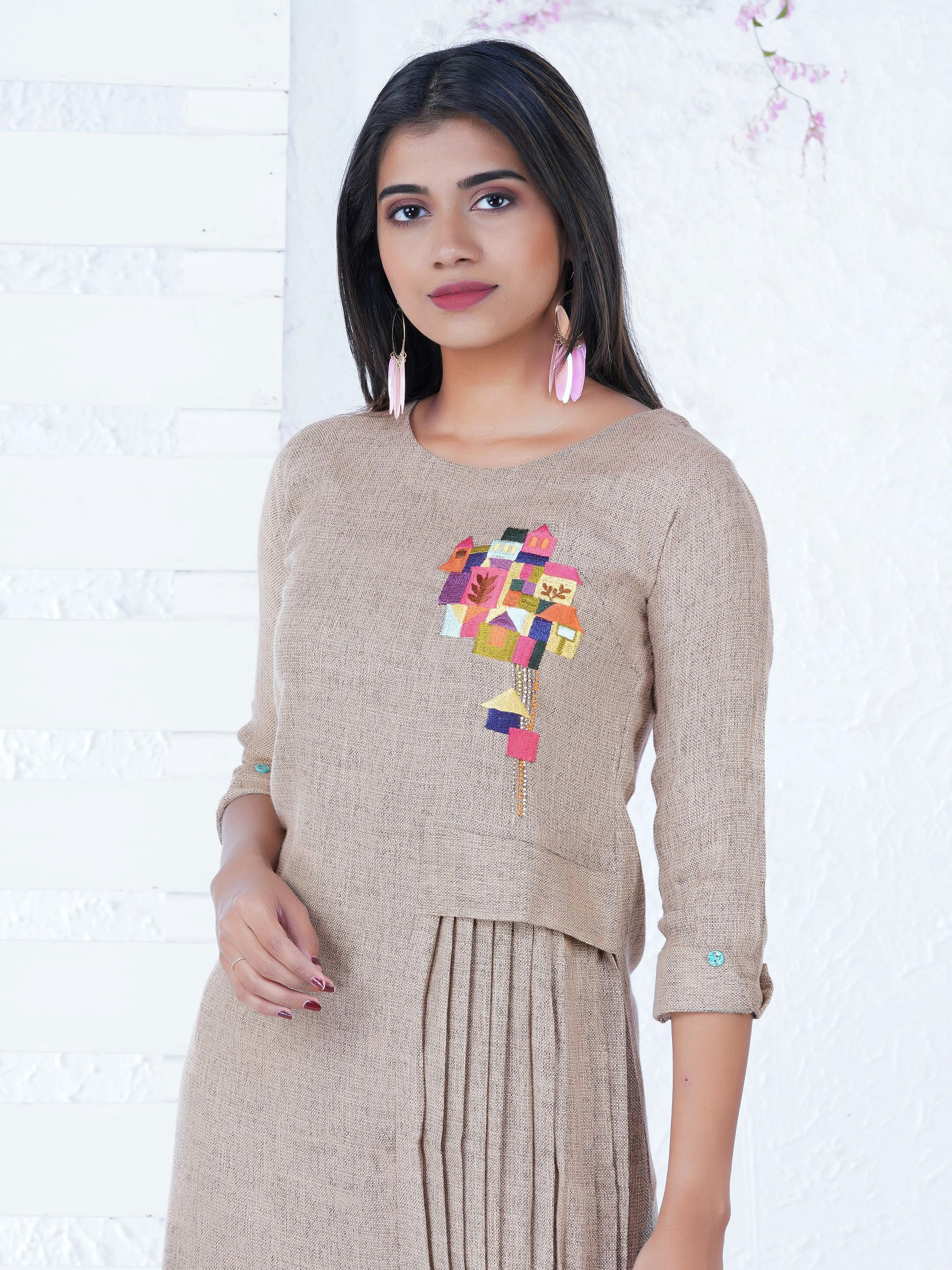 Abstract Houses Embroidered Layered & Pleated Kurta - Pale Peach