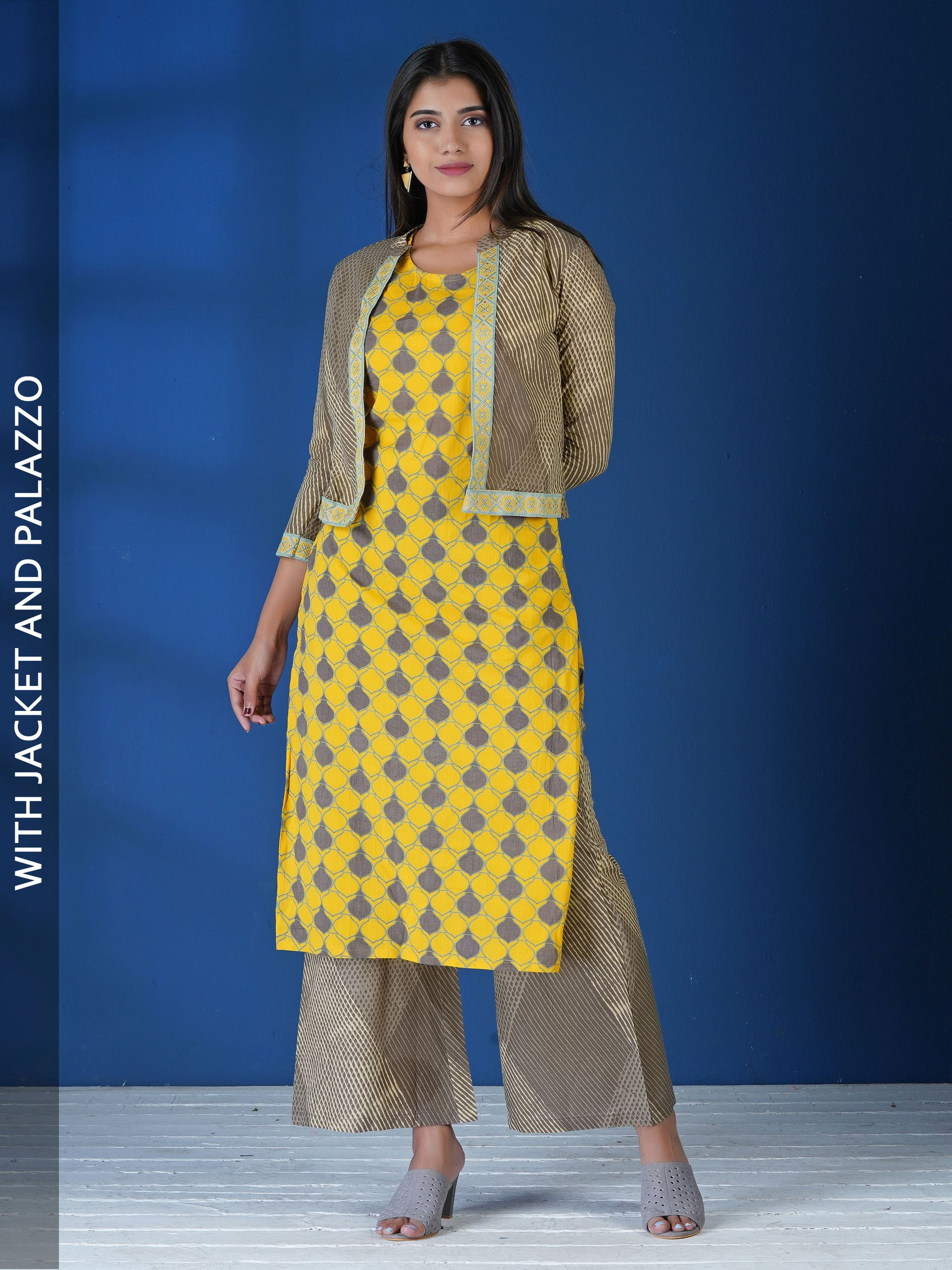 Geometric Printed Kurta with Printed Jacket and Palazzo